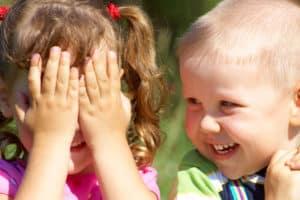 Boy and girl students at Villa Montessori Preschool in Polaris, Ohio