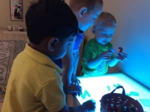 Light Table Fun at Villa Montessori Preschool in Columbus