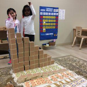 Learning math at Villa Montessori Preschool Polaris in Columbus, Ohio